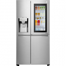 Side by Side LG GSX961NSAZ, No Frost, InstaView, Door in Door, 601 L, Clasa F, Dispenser apa, Argintiu