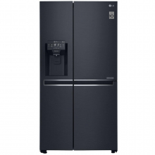 Side by side LG GSJ761MCUZ, 601 L, Clasa F, Full NoFrost, Dispenser apa, Compresor liniar Inverter, Smart Diagnosis, Negru
